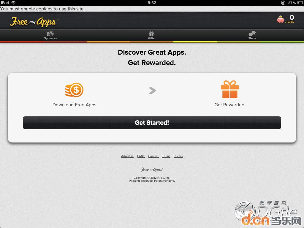...afari打开freemyapps的网站(   3、点击okay页面跳转到设置.